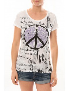 T-Shirt Peace And Love Blanc