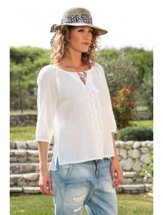 Top Fig 3/4 GA IT 10107504 Blanc - vetement femme