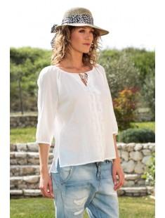 Top Fig 3/4 GA IT 10107504 Blanc - vetement femme