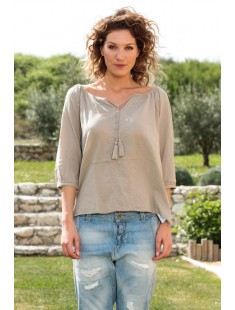 Top Fig 3/4 GA IT 10107504 Taupe - vetement femme