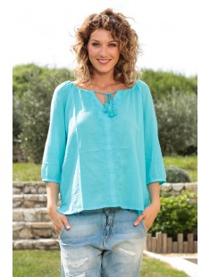 Top Fig 3/4 GA IT 10107504 Bleu - vetement femme