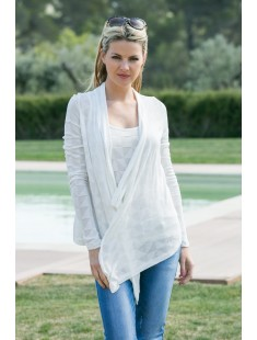 Cardigan Fast Egypt L/S Drapy It 10112493 Blanc - vetement femme