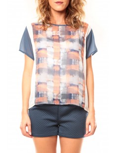 T-shirt CQTW14321 Blanc/Bleu - vetement femme