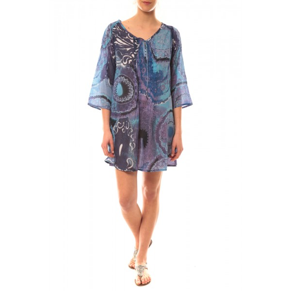 tunique hawaii 49447 bleu vetement femme - Tunique Colore Femme