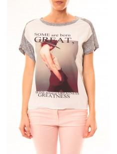 Tee-shirt B005 Blanc/Gris