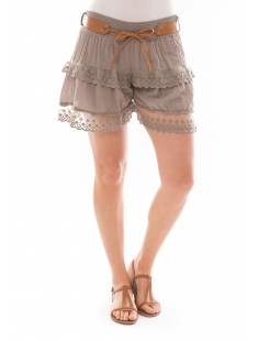 Short dentelles 3 volants Beige