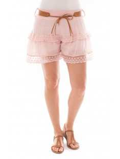 Short dentelles 3 volants Rose
