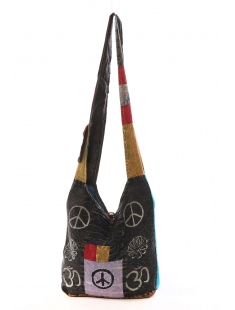 Sac besace patchwork motif peace and love Noir