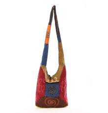 Sac besace patchwork motif peace and love Noir