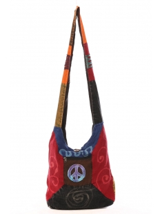 Sac besace patchwork motif peace and love Violet