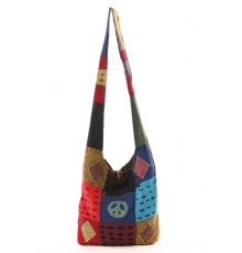 Sac besace patchwork motif peace and love Bleu
