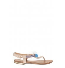 Sandale Beige  avec 3 pompons  20260