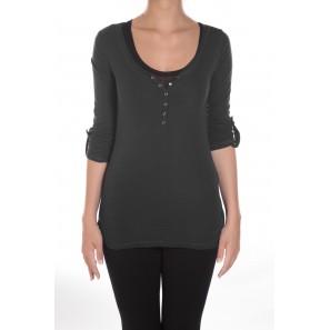 Tee-shirt basique col Tunisien Noir - 1 acheté = 1 offert