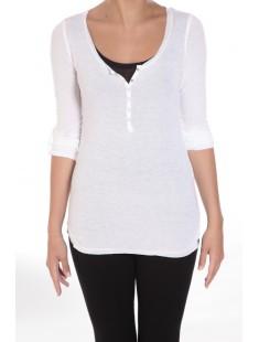 Tee-shirt basique col Tunisien Blanc - vêtement femme