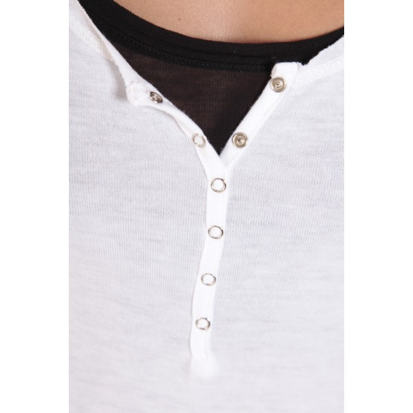 78d9d4895b2 ... Tee-shirt basique col Tunisien Blanc - vêtement femme ...
