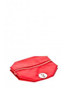 Pochette besace bouton doré Rouge