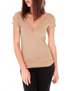 T-shirt dos cache coeur 017 Beige - vetement femme
