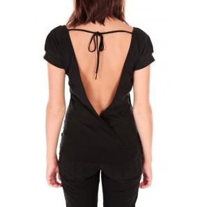T-shirt dos cache coeur 017 Noir - 1 acheté = 1 offert