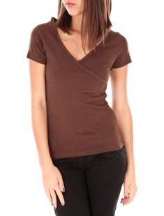T-shirt basic cache cœur 23E-14 Marron
