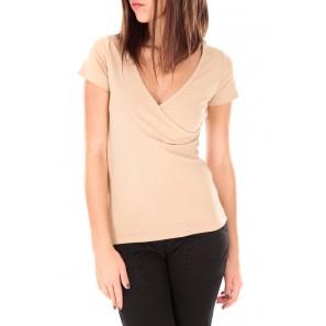 T-shirt basic cache cœur 23E-14 Beige