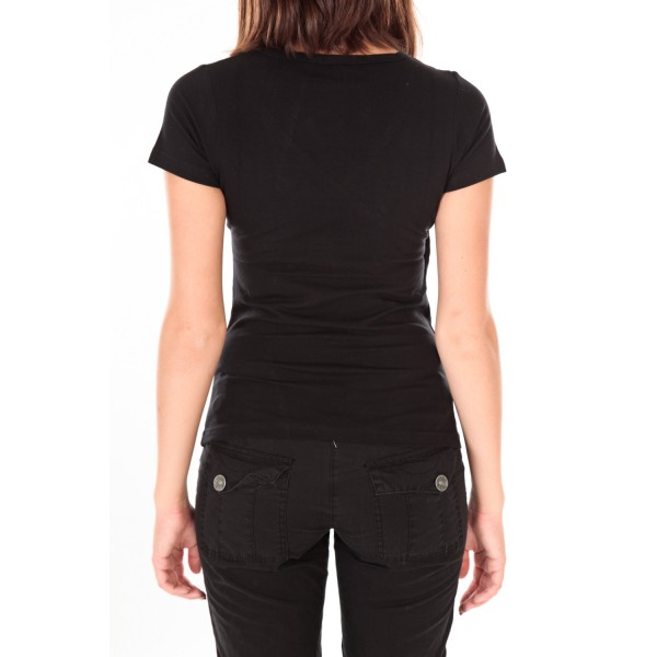 1361d7f0412 T shirt noir femme col v
