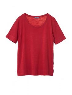 T-shirt femme col rond en jersey flammé Rouge