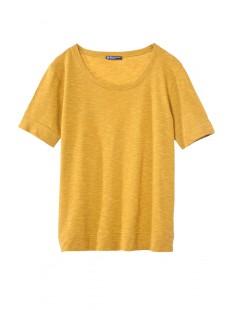 T-shirt femme col rond en jersey flammé Jaune - vetement femme