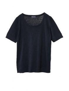 T-shirt femme col rond en jersey flammé Noir