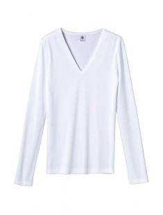 T-shirt femme col V en coton léger Blanc