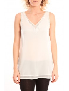 PEARL SL LONG TOP Blanc- vetement femme
