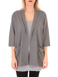 STACIA 3/4 CARDIGAN KM Gris - vetement femme