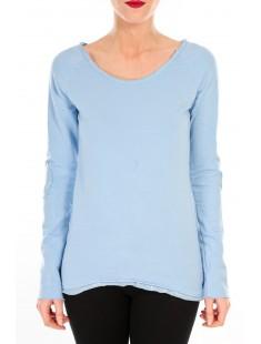T-shirt Empiècement Pailleté 2119 Bleu - vetement femme