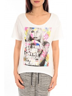 T-shirt Mystery Jane Sunshine MJ020T Blanc - vetement femme