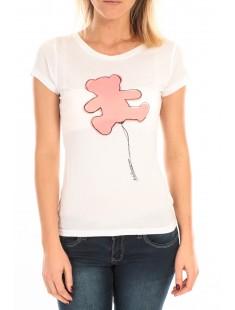 T-Shirt Pics Printe Ours Blanc