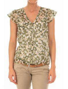 Chemisier AGNES S/S Shirt Mix Kombu Green - vetement femme