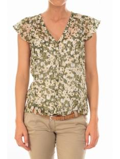 Chemisier AGNES S/S Shirt Mix Kombu Green - vetement femme
