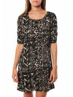 DRESS LEAH 3/4 SHORT EX7 Black/LATTE