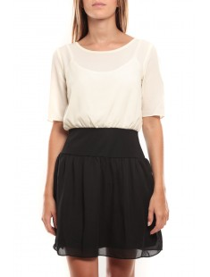 Minto 2/4 short dress Blanc/Noir - vetement femme