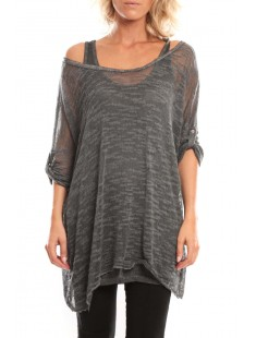 Tunique Atomika B filet long Anthracite - vetement femme
