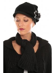Ensemble Bonnet-Écharpe Noir - vetement femme