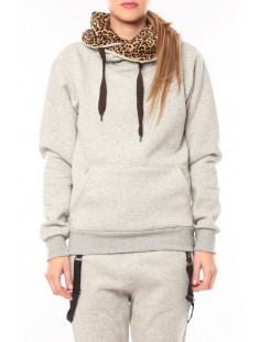 Sweat Leopard United Marshall College Gris - vetement femme