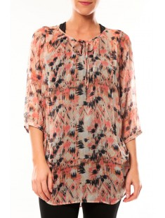 Tunic Katty Lee 3/4 10105918 Rose/Noir - vetement femme